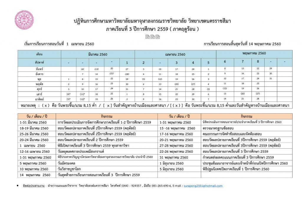 ปฏิทินการศึกษาภาคเรียนที่ 1-593