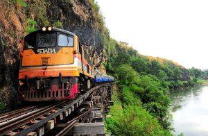 The Death Railway or The Burma Railway is along with the Kwae Noi River at Krasae Bridge, Kanchanaburi  *** Local Caption *** ทางรถไฟสายมรณะ หรือ ทางรถไฟสายพม่า ขนานไปกับแม่น้ำแควน้อย ช่วงสะพานถ้ำกระแซ จังหวัดกาญจนบุรี